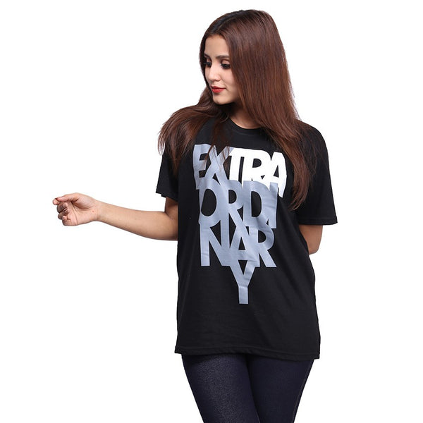 Black Extraordinary Printed T-shirt For Women
