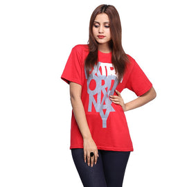 Red Extraordinary Printed T-shirt For Women