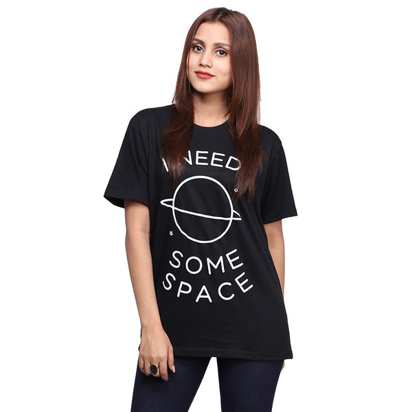 Black I Need Some Space Printed T-shirt For Women
