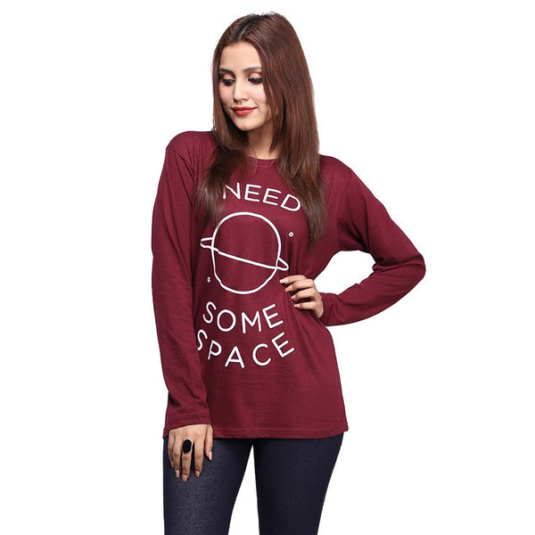 Maroon I Need Some Space Printed Full Sleeve T-shirt For Women