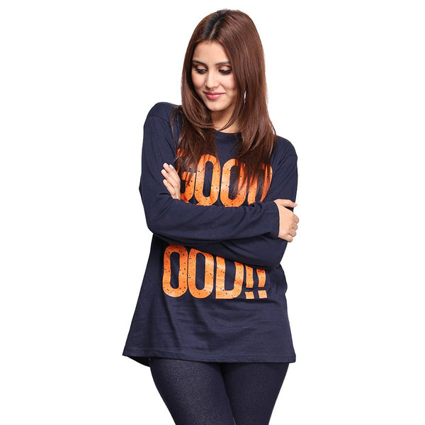 Navy Blue Good ! Printed Full Sleeve T-shirt For Women