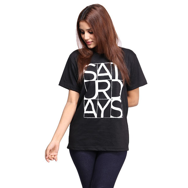 Black Saturday Printed T-shirt For Women