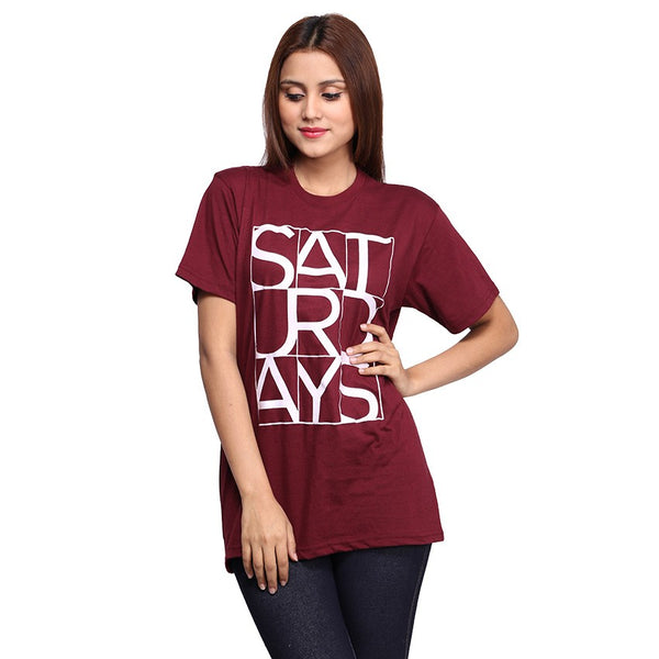 Maroon Saturday Printed T-shirt For Women