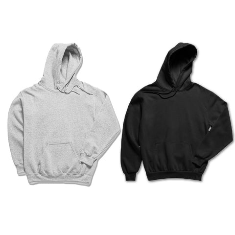 Pack of 2: Hazel Grey and Black Basic Plain Hoodies