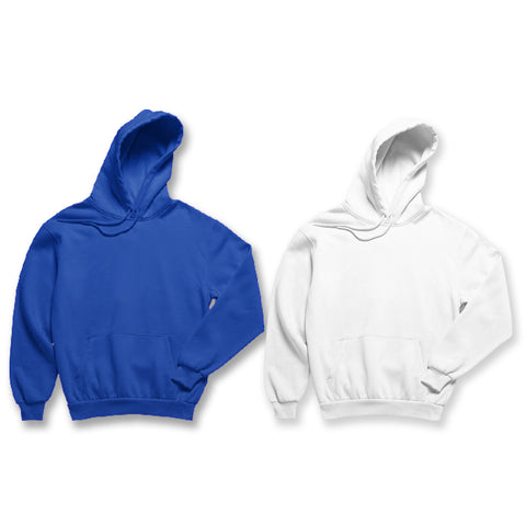 Pack of 2: Royal Blue and White Plain Hoodies