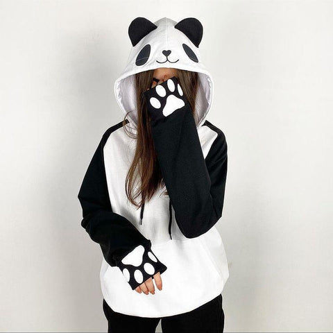 Panda Black and White Hoodie For Women