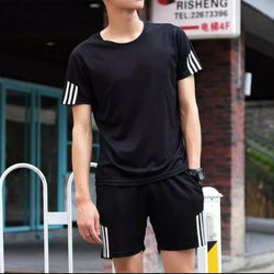 Black Stripped Summer Black T-Shirt and Short Set