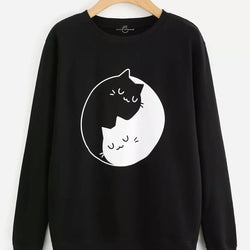 Black Printed Sweatshirt For Women