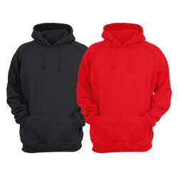 Bundle Of 2 : Black & Red Plain Kangroo Hoodie