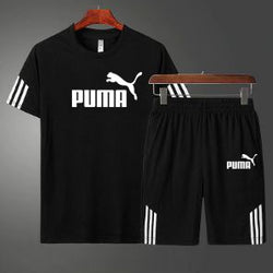 PUMA Black Summer Black T-Shirt and Short Set