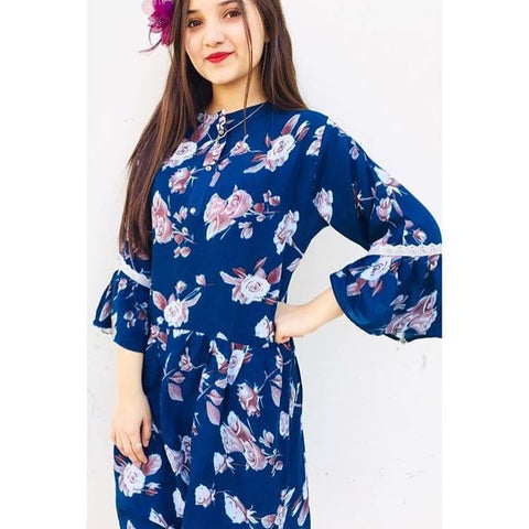Navy Blue Boski linen flower printed Frock style tunic