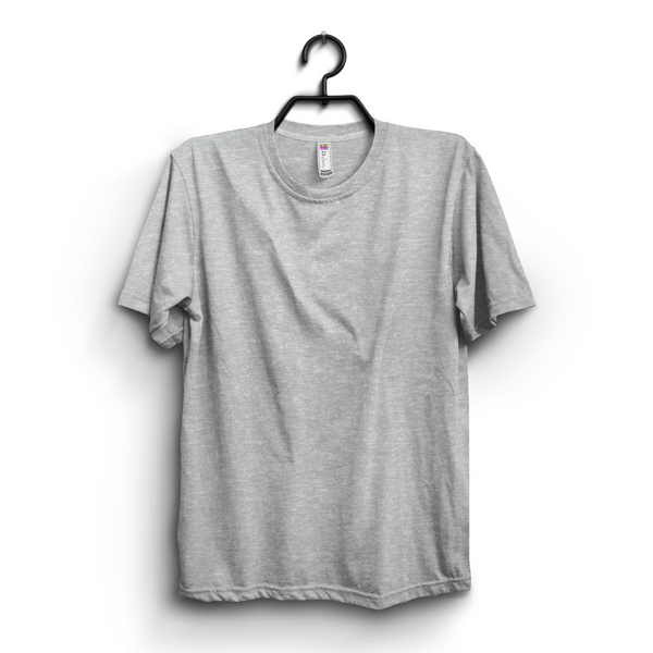 Hazel Grey Plain Round Neck Tshirt For Women