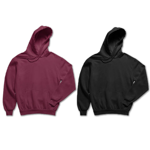 Pack of 2: Maroon and Black Basic Plain Hoodies