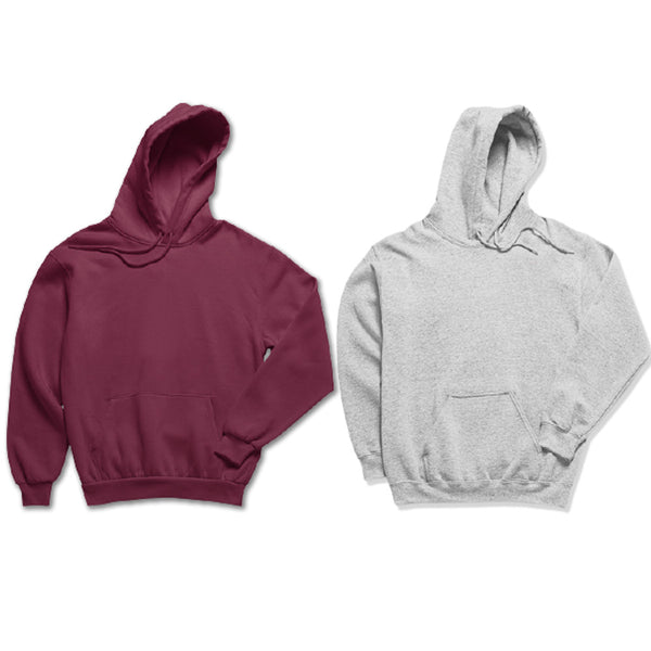 Pack of 2: Maroon and Hazel Grey Plain Hoodies