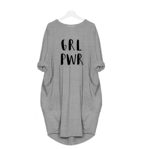 Hazel Grey Girl Power Women Long T shirt