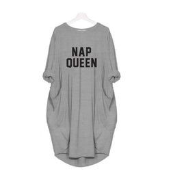 Hazel Grey Nap Queen Women Long T shirt