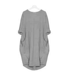 Hazel Grey Plain Women Long T shirt