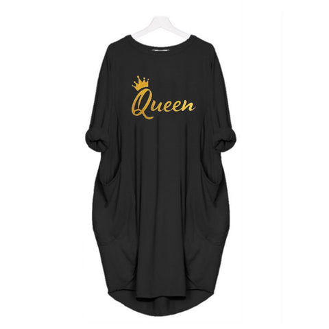 Black  Women Long T shirt with Golden Queen print