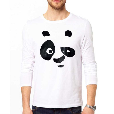 White Full Sleeves Panda Printed Tshirt For Men