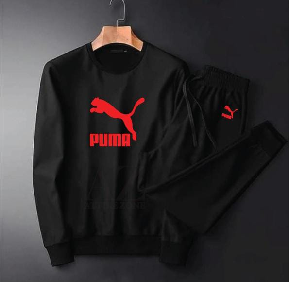 Puma Red Printed Black Tracksuit