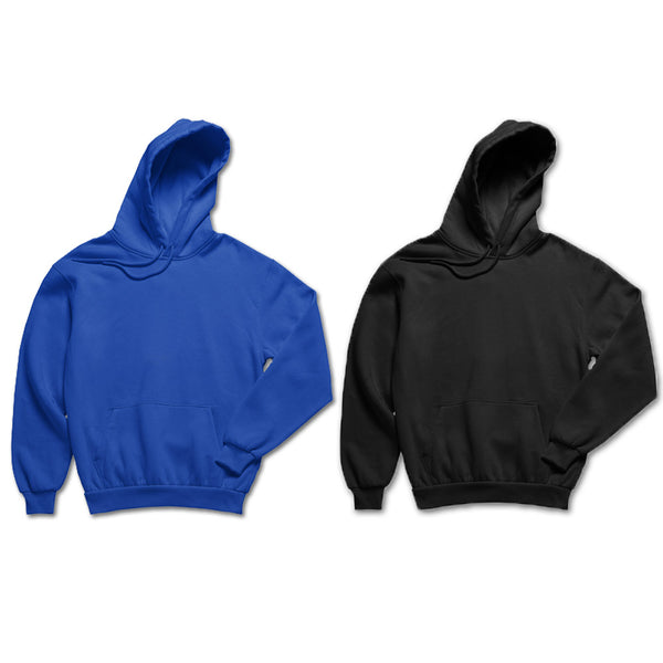 Pack of 2: Royal Blue and Black Plain Hoodies