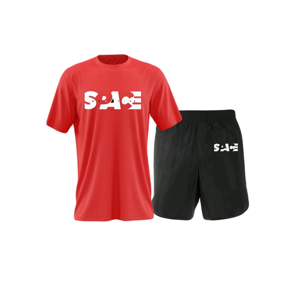 Space printed Red T-shirt summer Shorts tracksuit