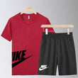 NIKE Maroon and Black Summer Maroon T-Shirt and Short Set