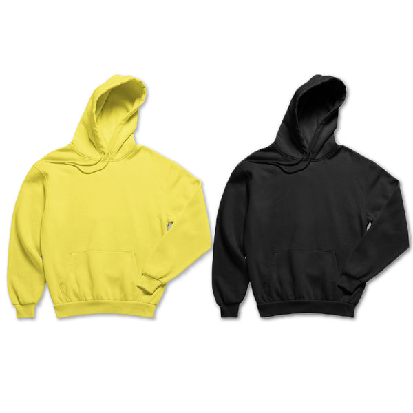 Pack of 2: Yellow and Black Basic Plain Hoodies