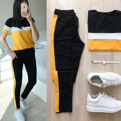 Yellow Panel Tracksuit For Women