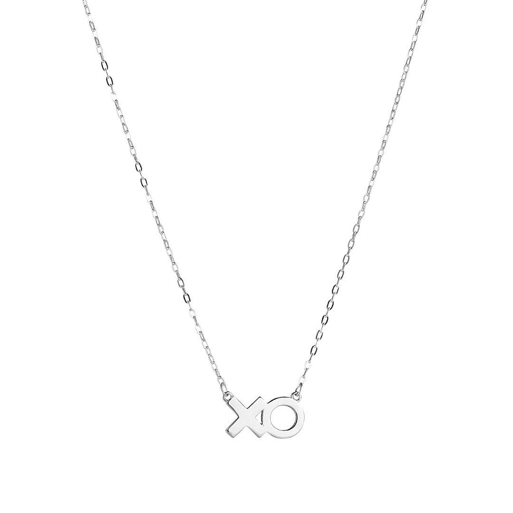 Product image of sterling silver necklace that features an 'XO' in text.
