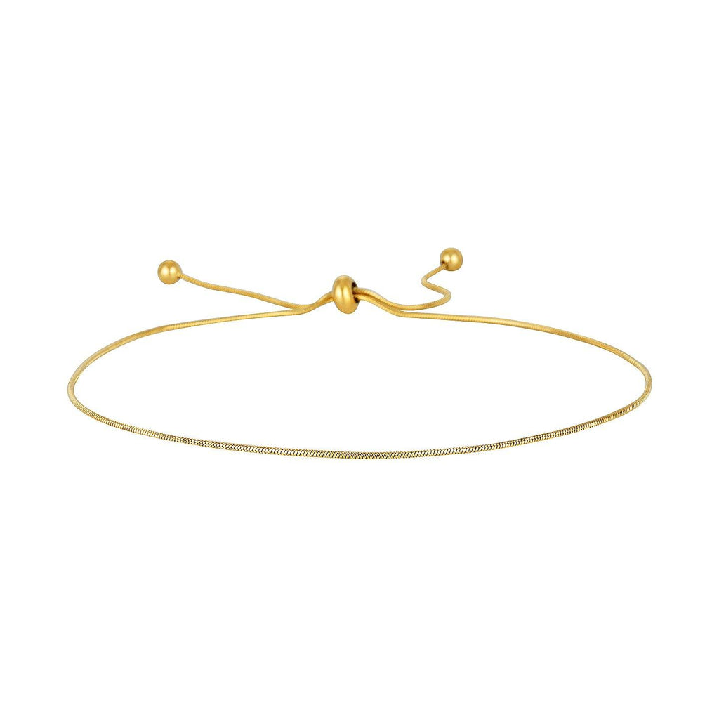 Product photo of adjustable 1mm snake chain anklet in gold.