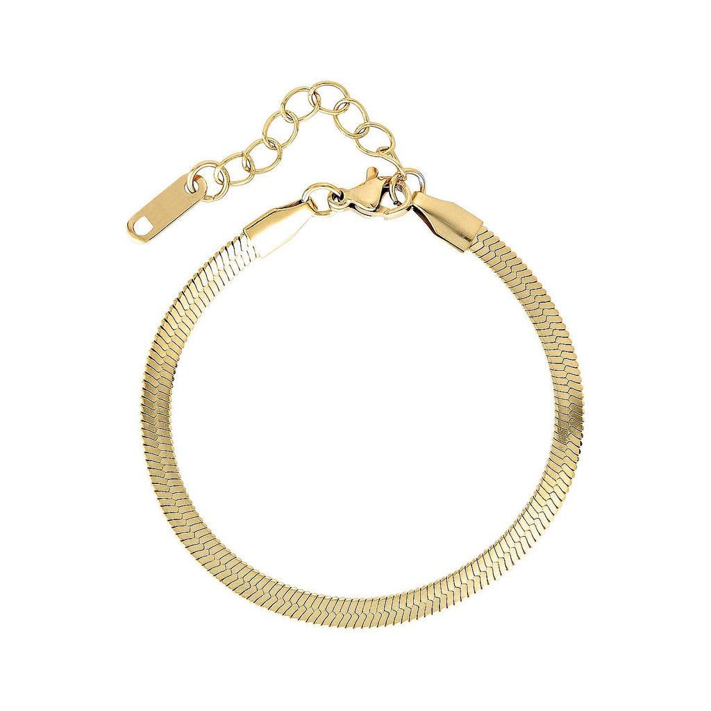 Product photo of gold herringbone chain bracelet with extender chain.