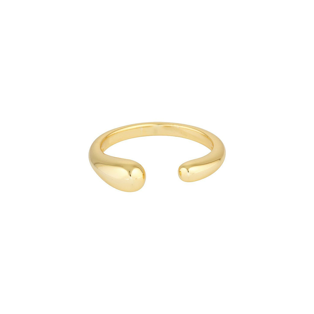 Product photo of adjustable, gold ring that features an opening at the front.
