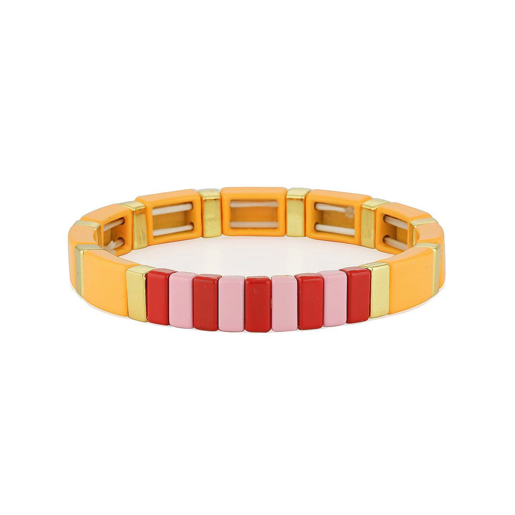 Product photo of elasticised bracelet made of squared metal beads with coloured (orange, pink, red and gold) enamel coating.