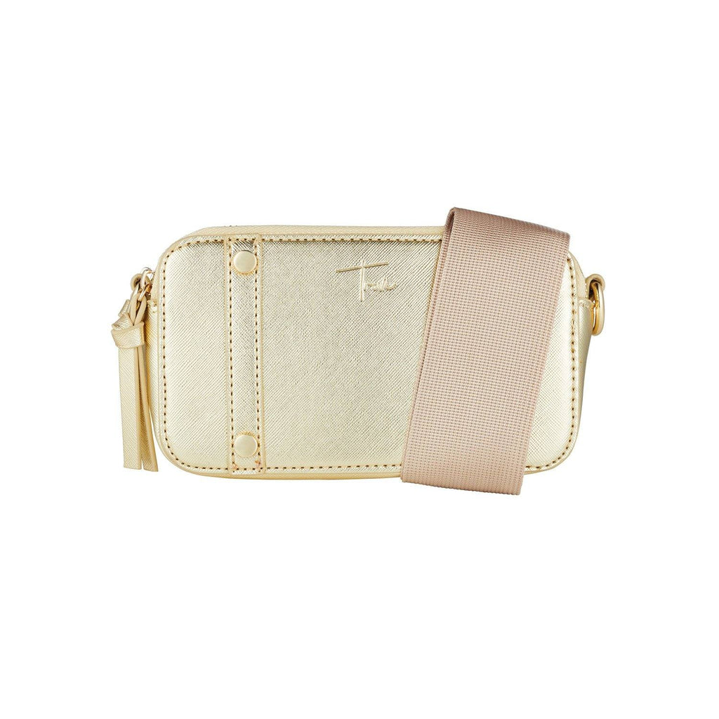 Product image of gold cross body bag with beige strap.