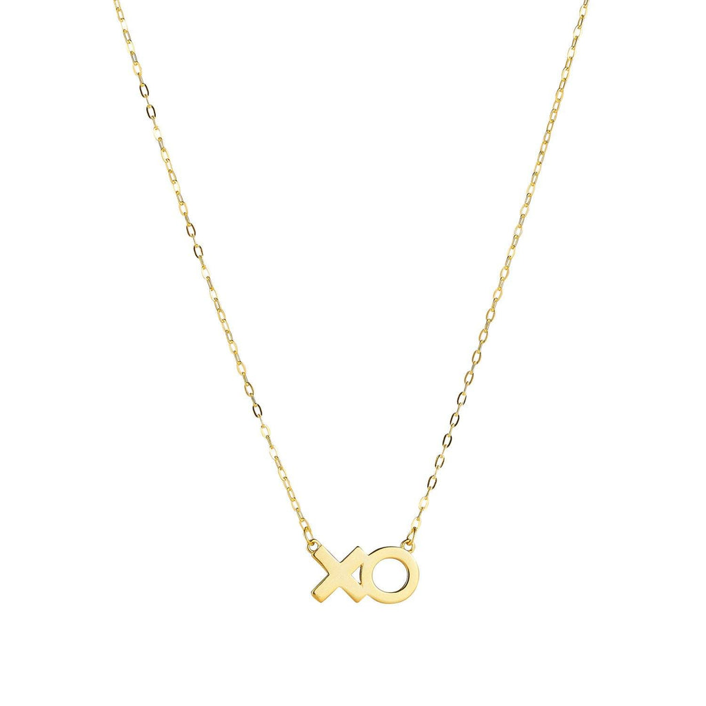 Product image of sterling silver necklace with 14k gold plating that features an 'XO' in text.