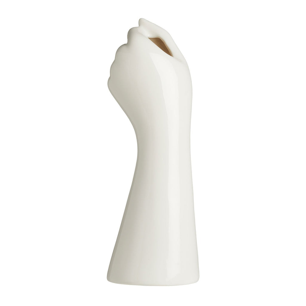 Product image of white ceramic vase in the shape of a hand.