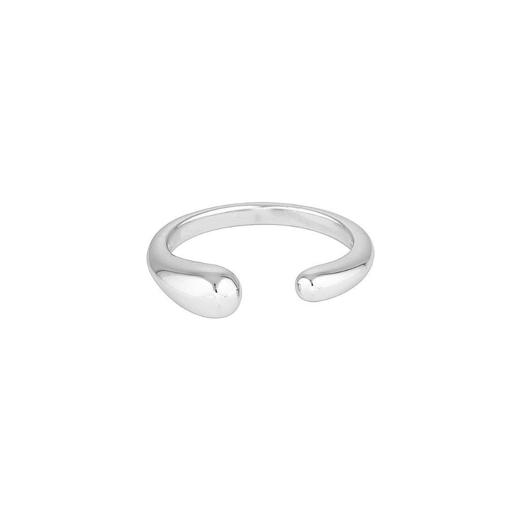 Product photo of adjustable, sterling silver ring that features an opening at the front.