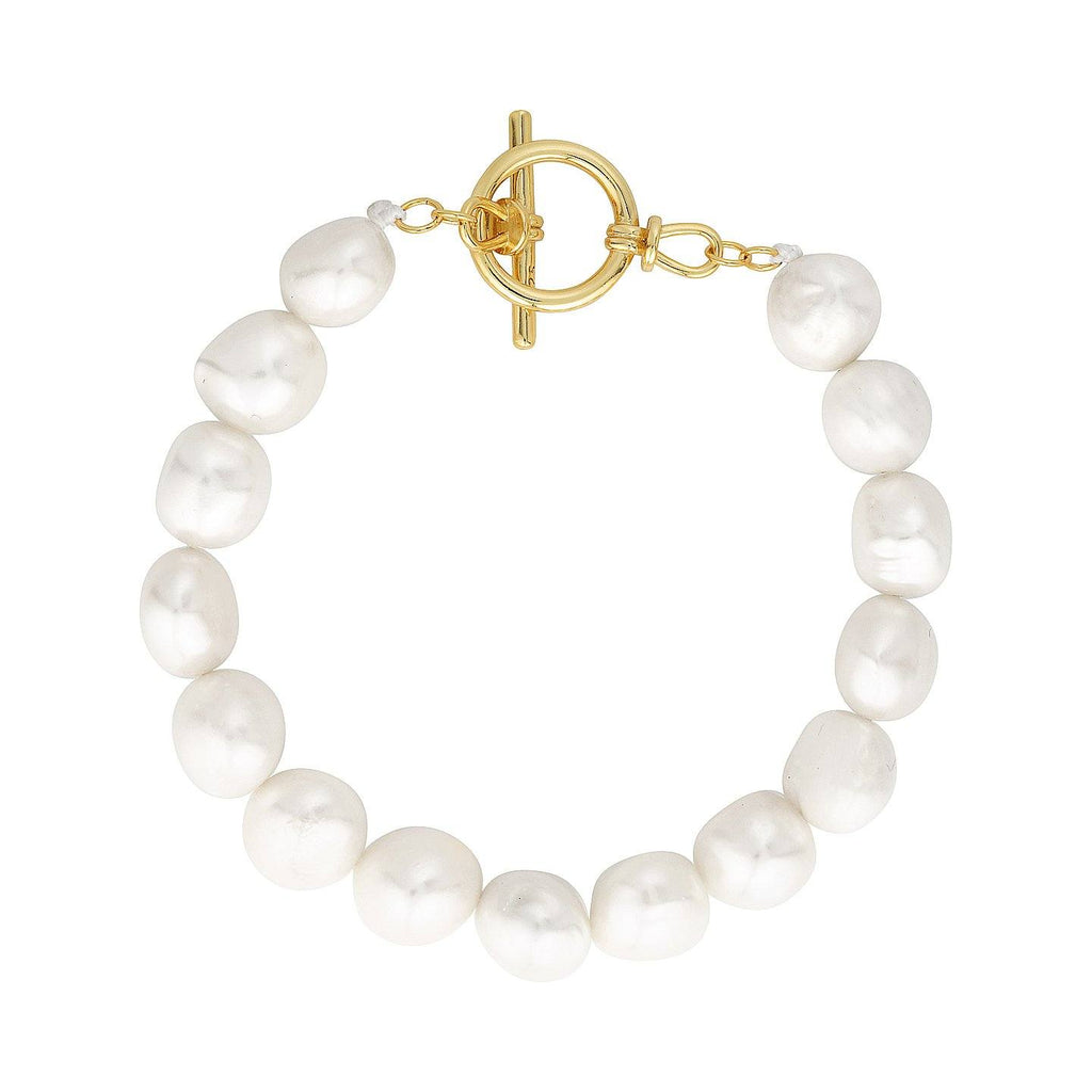 Product photo of freshwater pearl bracelet with statement, gold clasp.