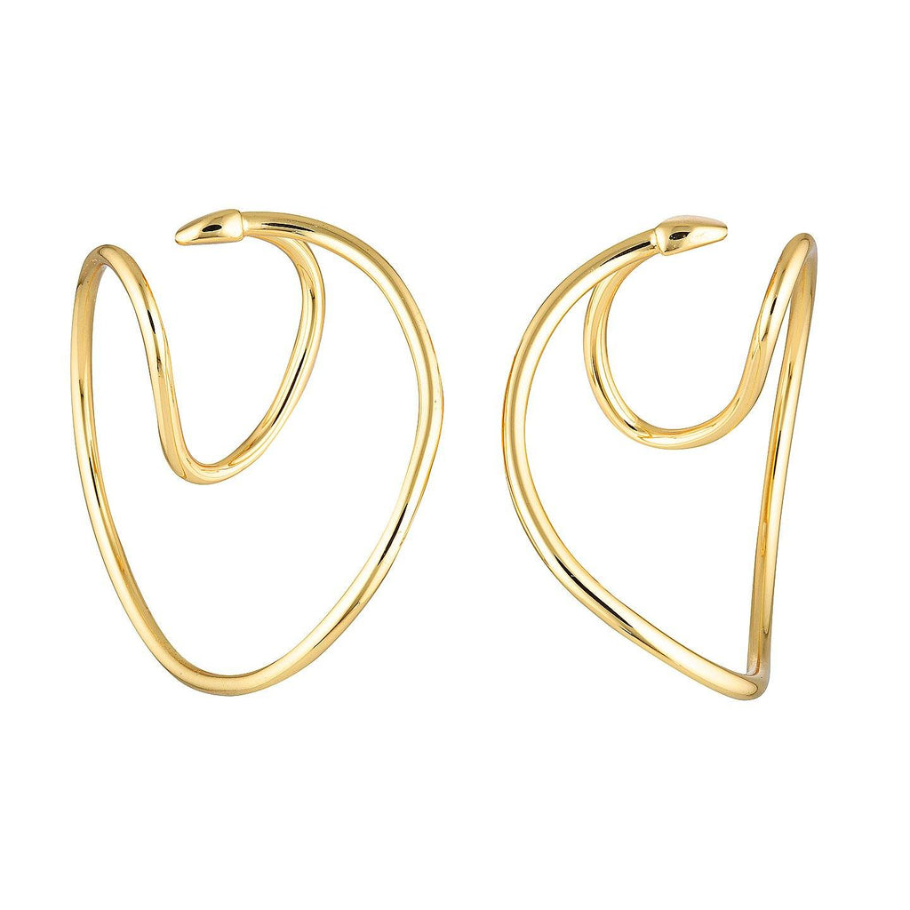 Product photo of unique shaped ear cuffs made of environmental brass with gold plating.