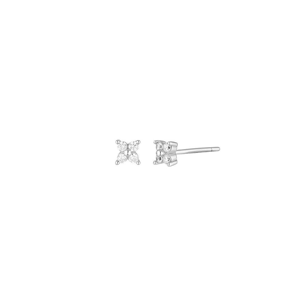 Product photo of 5mm sterling silver studs with four zircon mineral stones.