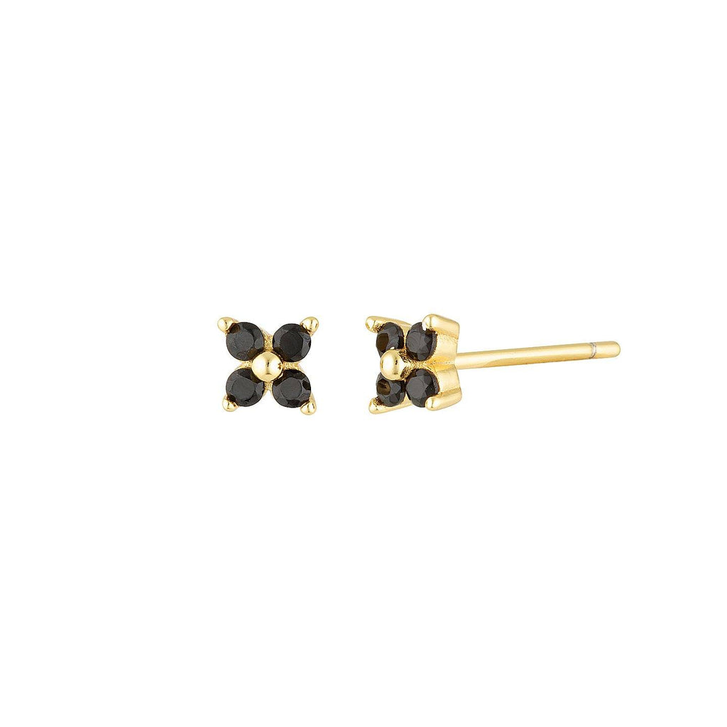Product photo of 5mm gold studs featuring four black coloured zircon mineral stones arranged in a flower shape.