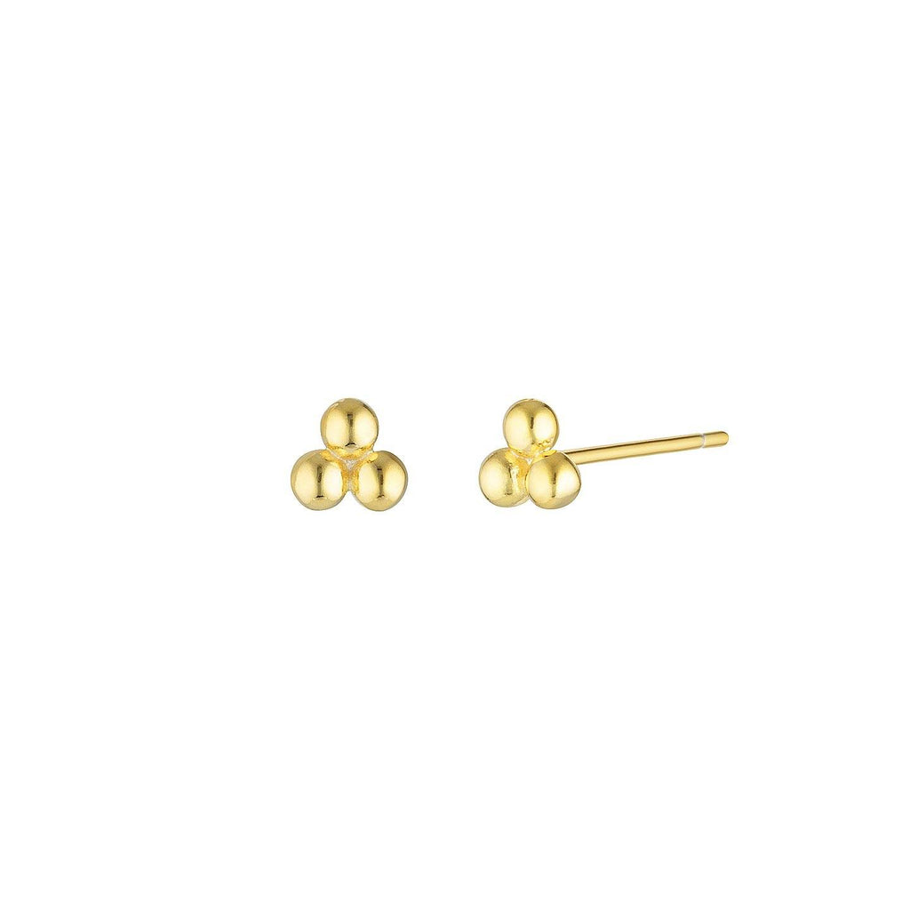 Product photo of Small, sterling silver 925 studs featuring three gold plated balls arranged in a triangle shape.