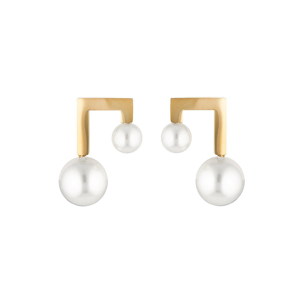 Product photo of Gold plated stud earrings featuring two imitation pearls.