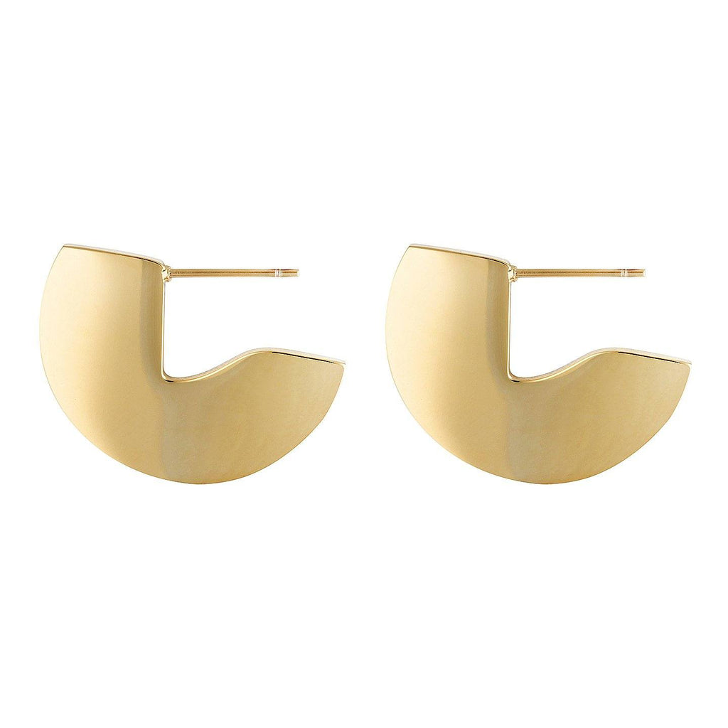 Product photo of Gold plated, sterling silver disc shaped hoops.