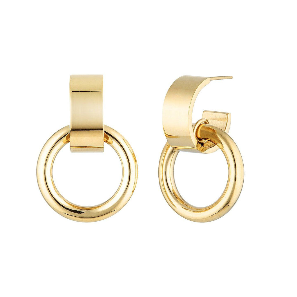 Product photo of Thick, gold plated hoop with hanging finer hoop.