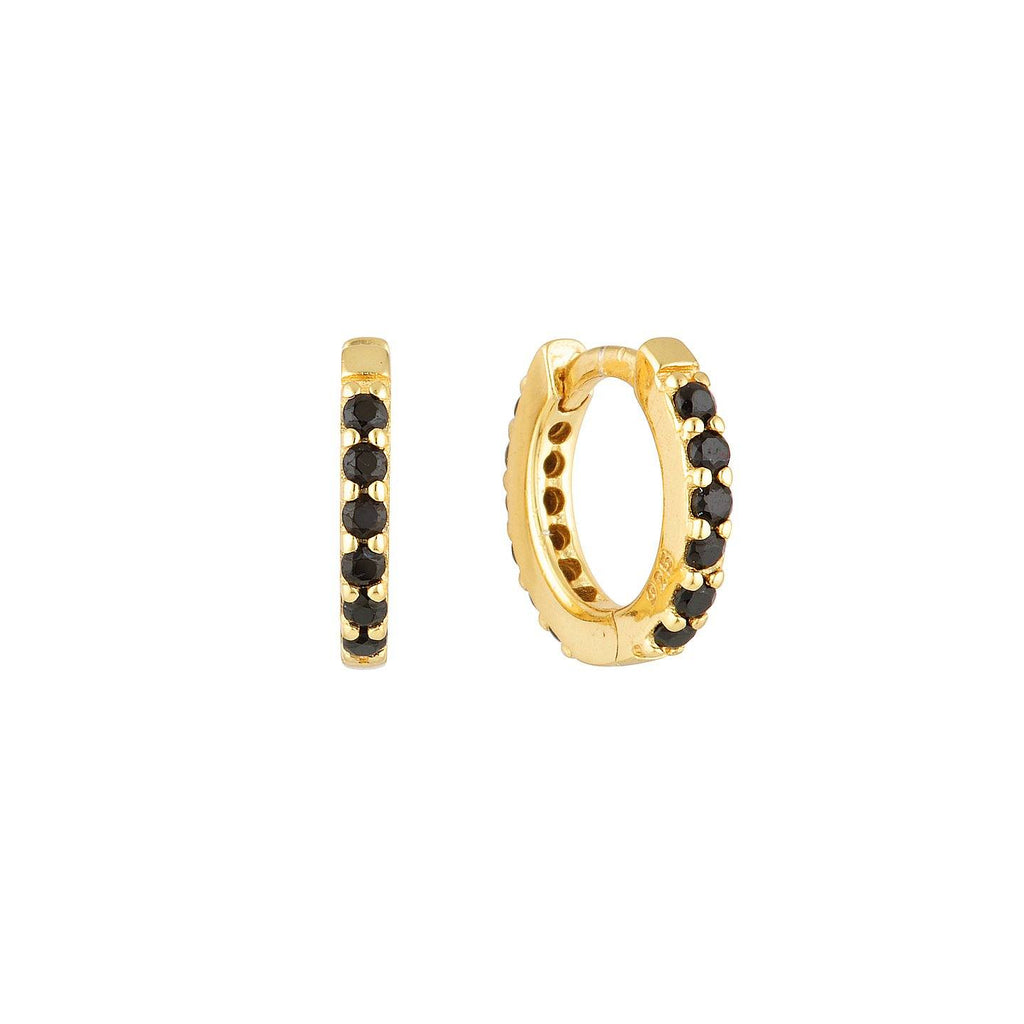 Product photo of Small, gold plated huggies embellished with black zircon mineral stones.