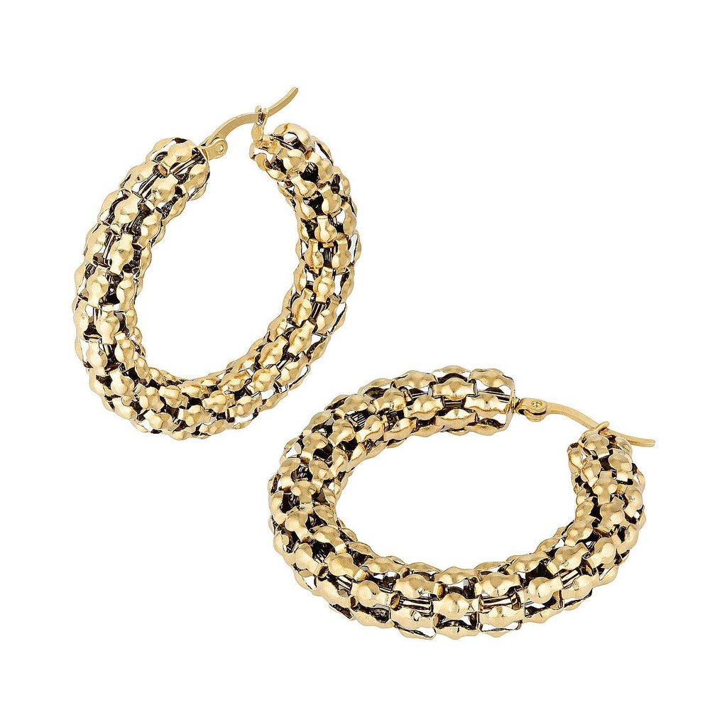 Product photo of gold-plated popcorn chain hoops.