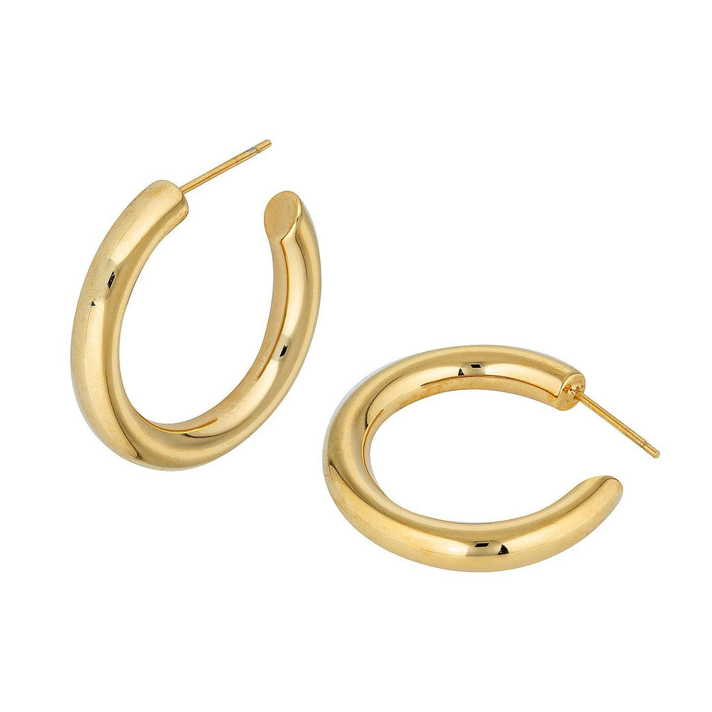 Product photo of gold plated, round shaped hoop earrings.