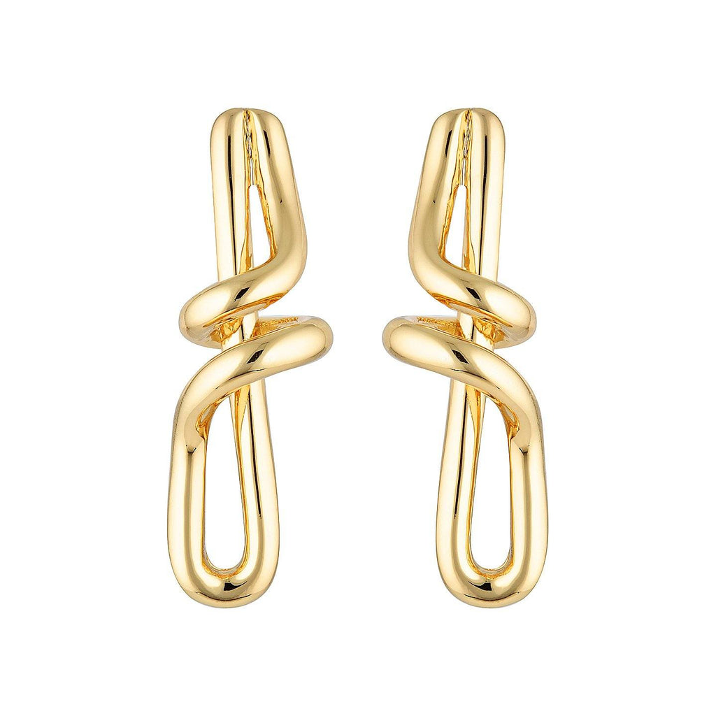 Product photo of twisted, gold statement earrings shaped like a Treble Clef.